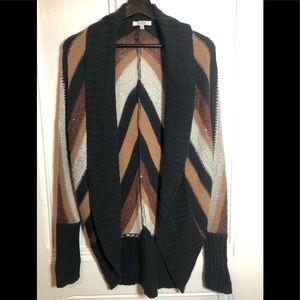 BB Dakota Wool Blend Sequin Striped Open Cardigan